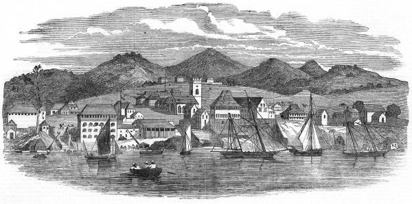 Freetown, Sierra Leone, West Africa: view from the sea Date: 1851