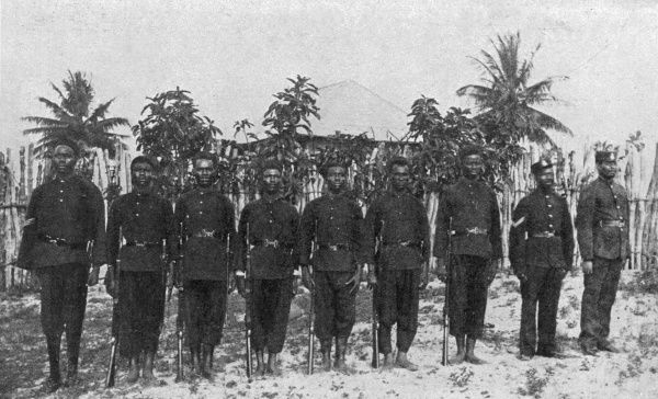 Photograph of Sierra Leone frontier police who joined with the Mendi expedition of West Indian Regiment troops to put down the insurrection of the native population in what is known as the Hut Tax War of 1898