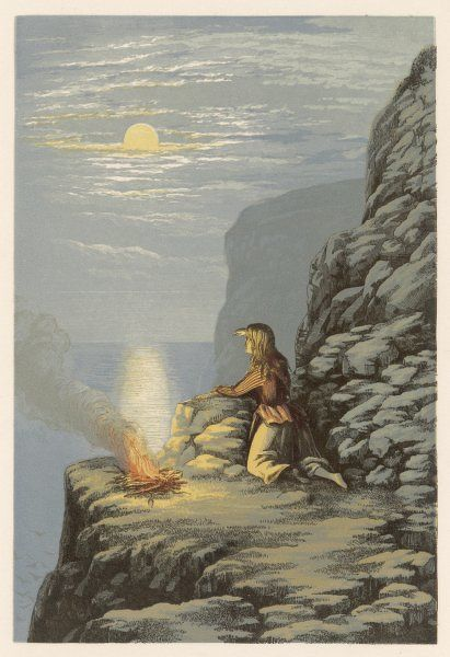 A girl on a high rocky platform lights a fire to warn someone that it is either safe or unsafe to do what they are thinking of doing or not doing