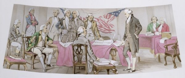 USA - The Signing of the Declaration of Independence by the founding fathers of the United States of America on 4th July 1776