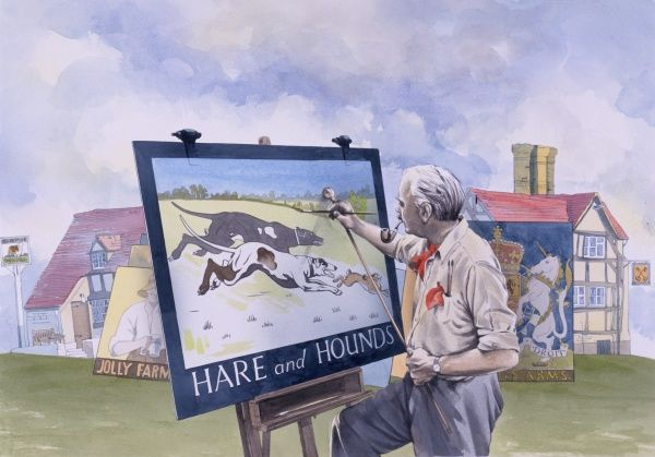 A signwriter paints the pub sign for the Hare and Hounds pub. Behind him can be seen other examples of his art and traditional tavern signs hanging in situ. Painting by Malcolm Greensmith