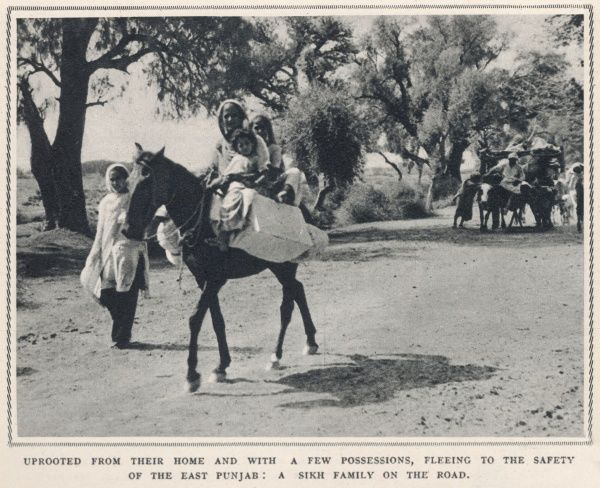 Uprooted from their home, a Sikh family flee to the safety of the East Punjab carrying only meagre possessions