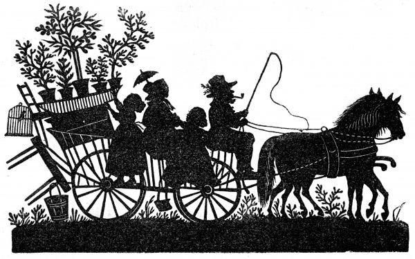 Silhouette - Family riding on a wagon, led by two horses and containing (as well as themselves) a tray of pot plants, a birdcage, a chair, a table and a bucket. The artist is Karl Frohlich