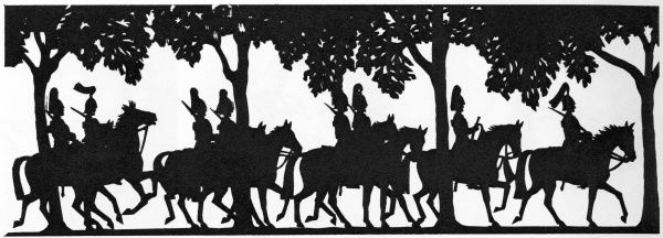 Silhouette depicting a procession of mounted Household Cavalry in Hyde Park, London, featured in the Tatler's Coronation issue