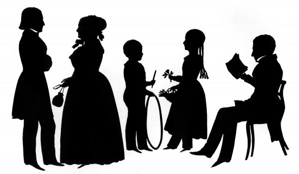 The Cary family of Boston, Massachussetts, USA in silhouette, cut by the famous silhouette artist August Edouart, who toured the USA during the 1840s and cut thousands of silhouette portraits during that time. Date: 1842
