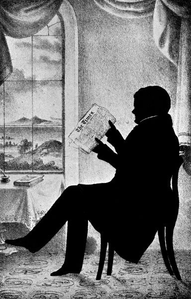 Silhouette portrait of Daniel O'Connell (1775 - 1847), Irish Nationalist leader pictured seated and reading The Times newspaper! Date: 1830s