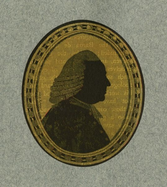 Silhouette portrait on glass by A. Forberger of Lord Mansfield. William Murray, 1st Earl Mansfield (1705 - 1793) was a lawyer, statesman and Lord Chief Justice for 32 years. Date: c.1775