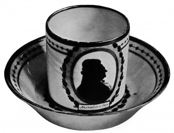 Honore Gabriel Riqueti, comte de MIRABEAU French statesman (1749 - 1791), pictured in a silhouette portrait on a white and gold Sevres china coffee cup. Date: 19th century