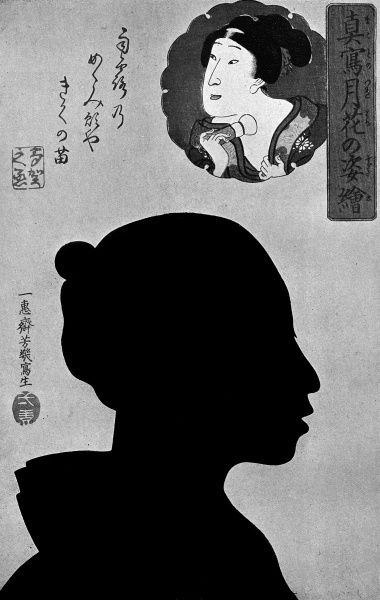 Silhouette portrait of the Japanese actor, Onoye Takanojo along with an inset traditional portrait. Date: late 19th century