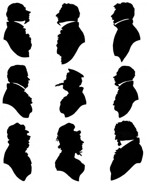 A series of silhouette portraits in caricature, probably German, from the first half of the 19th century. Date: c.1820