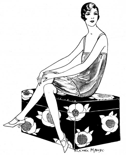 Illustration of a then-new style cami-bocker, made from artifical silk, available from 'Dorothy Perkins' fashion stores