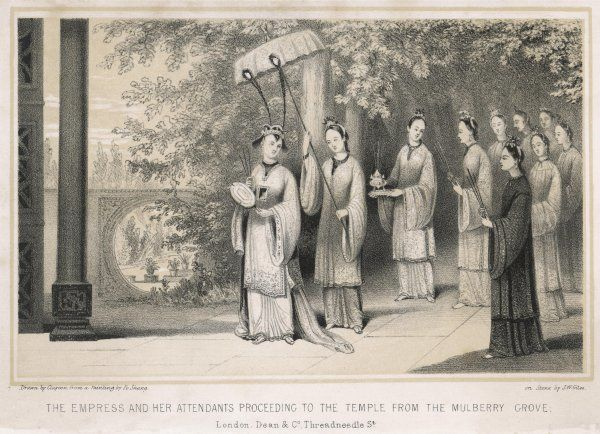 The Empress & her attendants proceed to the temple from the Mulberry grove during the annual ceremony commemorating the invention of silk weaving