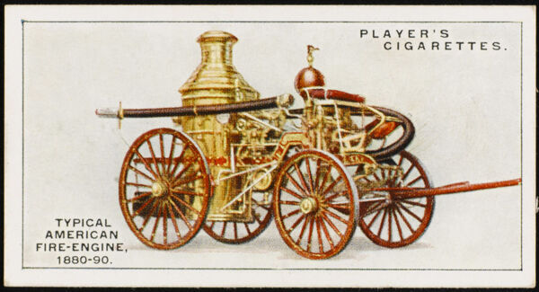 Typical American fire-engine of the late 19th century. This model was made by Silsby for the Metropolitan Fire Department of New York