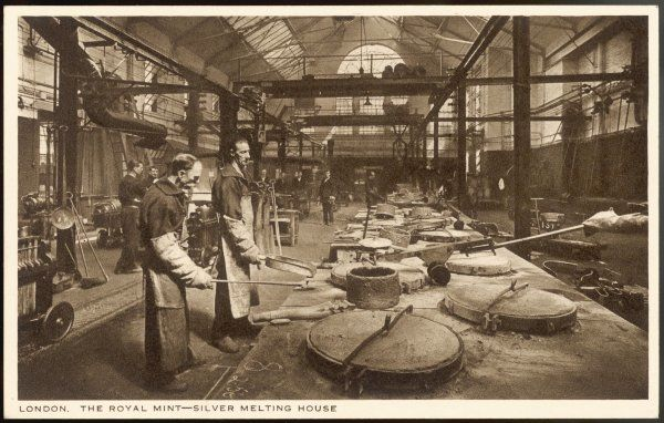 The silver melting house at the Royal Mint, London Date: circa 1910