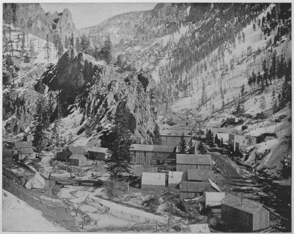 A silver miners' camp, Nevada (USA) 'Our picture represents the typical mining camp in one of the gullies that seam the mountains of the district&#39