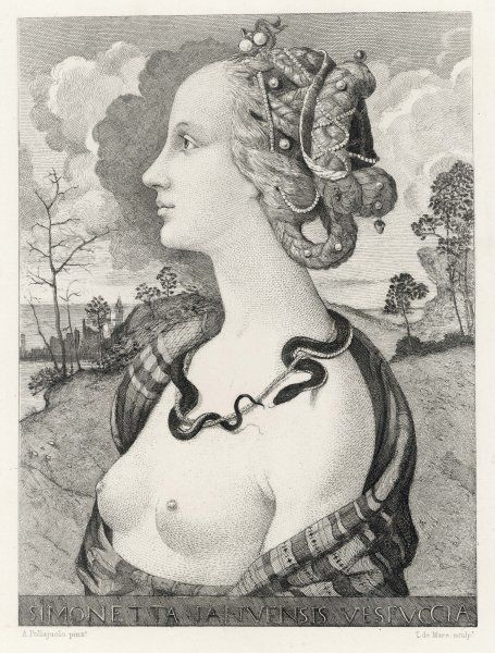 SIMONETTA VESPUCCI An noted Florentine beauty and lover of Giuliano de Medici Died tragically young at age 23