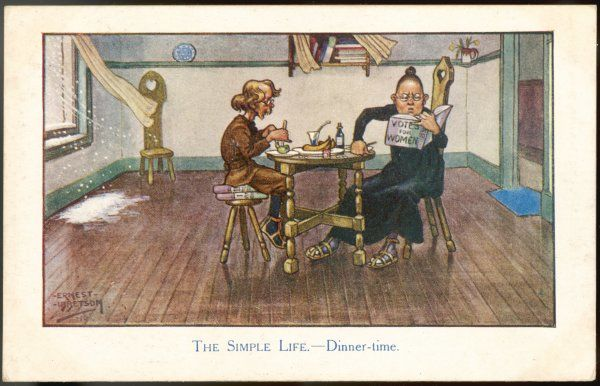 THE SIMPLE LIFE - Dinner time in the barely furnished home of a formidable New Woman - she reads Votes for Women to her sandalled hubbie while snow blows into the room