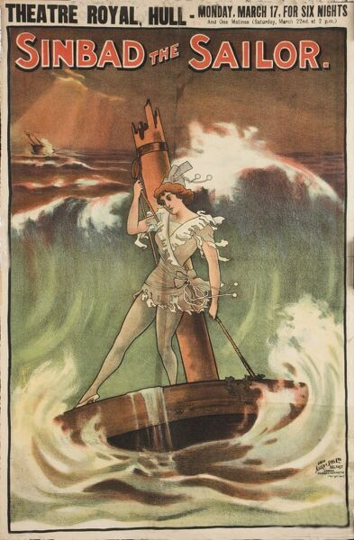 "Late Victorian poster for the pantomime, ""Sinbad the Sailor"" showing the principle boy surfing with the wrecked remains of a ship"