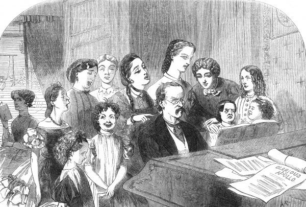 A large family group gather round a grand piano to sing together. Date: 1863