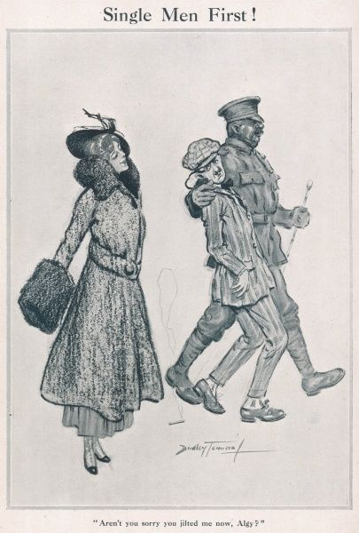 A reluctant bachelor gets carted off by the recruitment sergeant and regrets jilting a rather smug looking sweetheart. A comment on the recruitment policy during World War One which ruled that single men were the first to be conscripted