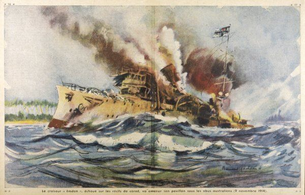 The predatory German cruiser 'Emden' is sunk upon coral reef by the Australians