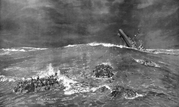 H.M.S. Hampshire sinks in heavy seas just off the Orkneys, having most likely struck a mine laid by a German submarine before the Battle of Jutland. The Hampshire was carrying Lord Kitchener, Secretary of State for War, and his staff, to Russia