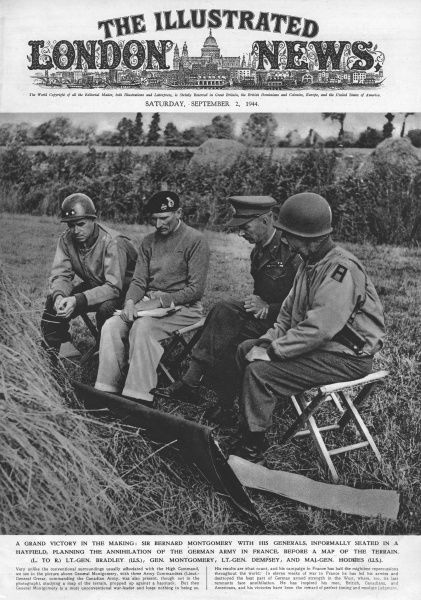 A grand victory in the making: Sir Bernard Montgomery with his generals, informally seated in a hayfield, planning the annihilation of the German army in France, before a map of the terrain. Left to right: Lt.-Gen. Bradley (U.S.), Gen. Montgomery, Lt