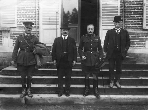 General Sir Douglas Haig (1861-1928) (second from right) with William Massey (1856-1925), Prime Minister of New Zealand (right), and Sir Joseph Ward (1856-1930), ex-PM of New Zealand (second from left), at Beauquesne in northern France during