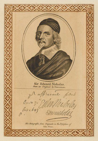 SIR EDWARD NICHOLAS statesman of royalist sympathies with his autograph