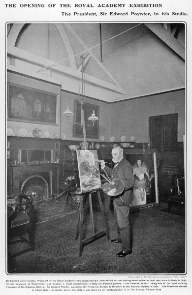 SIR EDWARD JOHN POYNTER (1836 - 1919), English painter of historical subjects,President of the Royal Academy and Director of the National Gallery (1894-1904). Pictured at his studio in The Avenue, Fulham Road