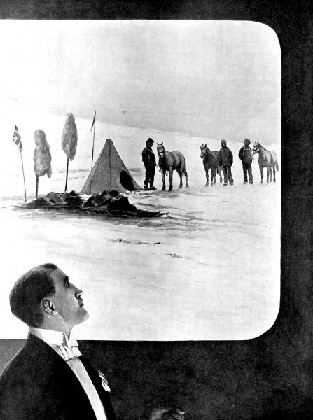 Illustration showing Sir Ernest Shackleton, leader of the Nimrod Antarctic Expedition of 1908-09, giving a lecture to the Royal Geographical Society at the Albert Hall, London, 1909