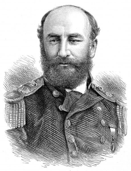 Engraving of Sir George Strong Nares, the Scottish naval commander and explorer, pictured in 1875 when he was a Royal Navy Captain in charge of the 1875-1876 British Arctic Expedition