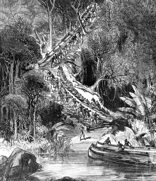 Engraving showing the local followers of Sir Henry Morton Stanley (1841-1904) hauling their canoes up the slopes around the Inkisi Falls, during his 1874 expedition to Central Africa