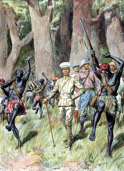 Engraving showing Sir Henry Morton Stanley (1841-1904) (centre with walking stick), the Anglo-American journalist and explorer, and his companions leaving a dense forest, Central Africa
