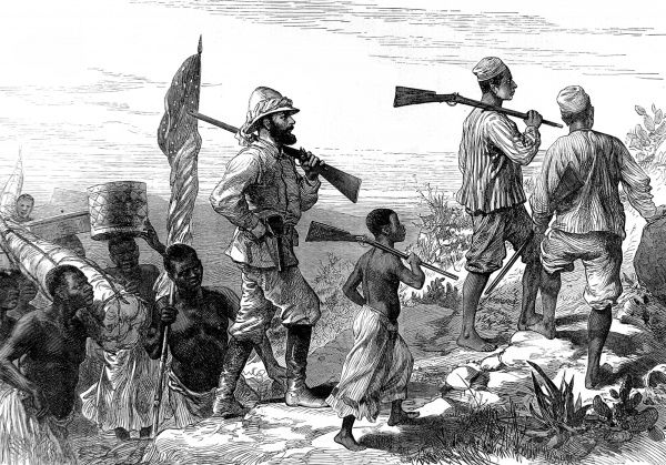 Engraving showing Sir Henry Morton Stanley (1841-1904) (centre) and his retinue of local porters and hunters, marching across Africa in search of Dr