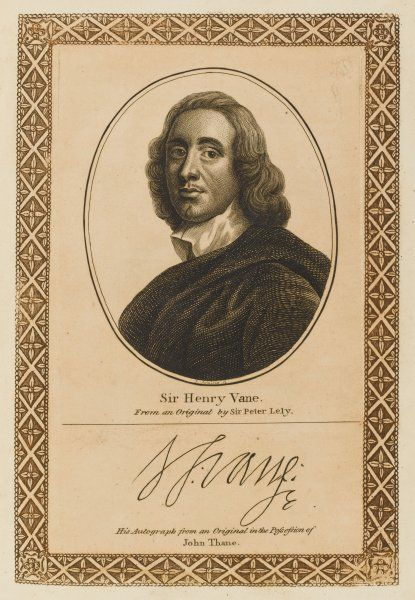 SIR HENRY VANE statesman whose support of the Commonwealth cost him his head at the Restoration despite promises of indemnity. with his autograph