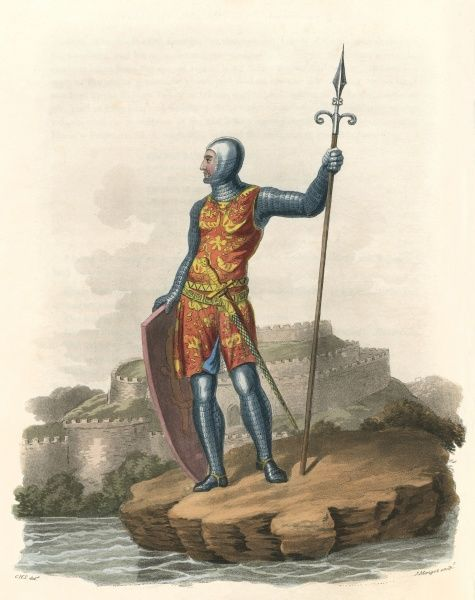 Sir HUGH BARDOLFE (or Bardolphe) depicted at Castleacre castle, Norfolk. Trusted by Richard I, he fought in Sicily and carried out diplomatic missions. Date