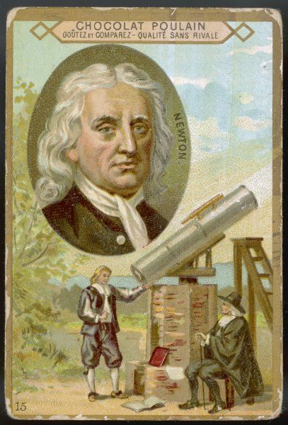 SIR ISAAC NEWTON - scientist, demonstrating his telescope