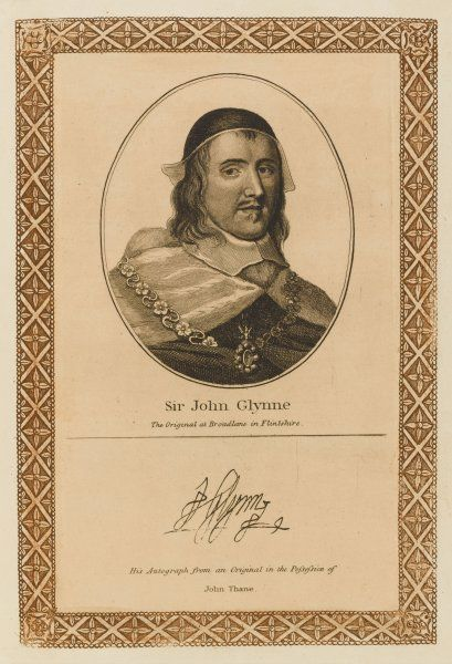 SIR JOHN GLYNNE lawyer and statesman with his autograph