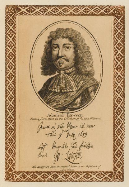 SIR JOHN LAWSON naval commander during the ommonwealth, though no friend to Cromwell with his autograph