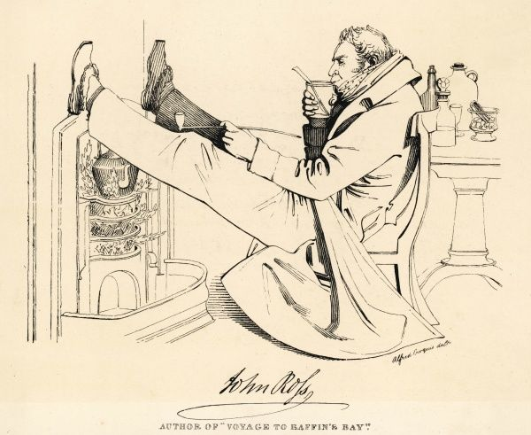 SIR JOHN ROSS Arctic navigator, depicted having a hot drink and smoking a pipe whilst putting his feet up over a fireplace