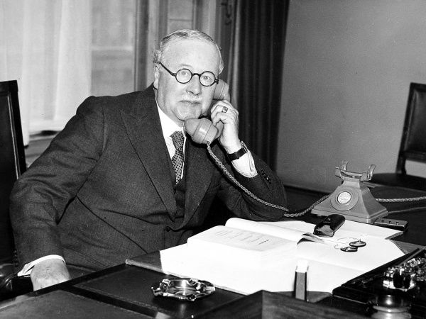 Photograph of Sir Kingsley Wood, the Conservative MP, seen in 1938 - the year that he held the posts of Minister of Health and Secretary of State for Air