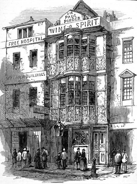 Engraving showing the exterior of the building which was first Sir Paul Pindar's home and later 'The Paul Pindar's Head' tavern, in Bishopsgate Street, London, 1878