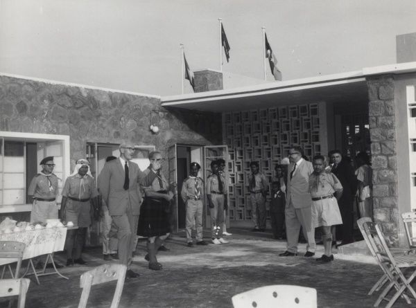 Sir Richard Turnbull, G.C.M.G., Chief Scout for Scouts Arabia, inspects the quadrangle of the new Headquarters of the South Arabian Boy Scouts Association in Aden