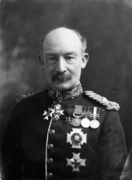 Photographic portrait of Robert Baden-Powell, 1st Baron Baden-Powell (1857-1941), the English soldier and founder of the Boy Scout Movement, pictured in his army uniform c.1900