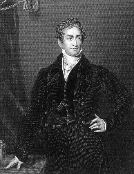 Engraving of Sir Robert Peel (1788-1850), the English statesman and Prime Minister