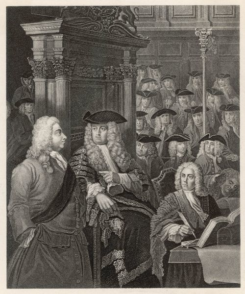 Sir Robert Walpole (to the left of the picture) in the House of Commons