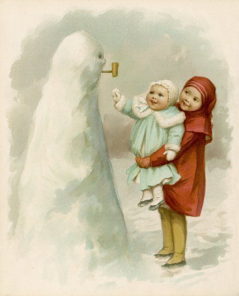 Sister holds up baby to see their snowman