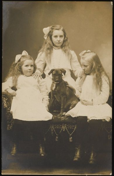 Three young girls, probably sisters, pose together in matching white dresses and hair bows. Their pet dog or puppy sits centre stage