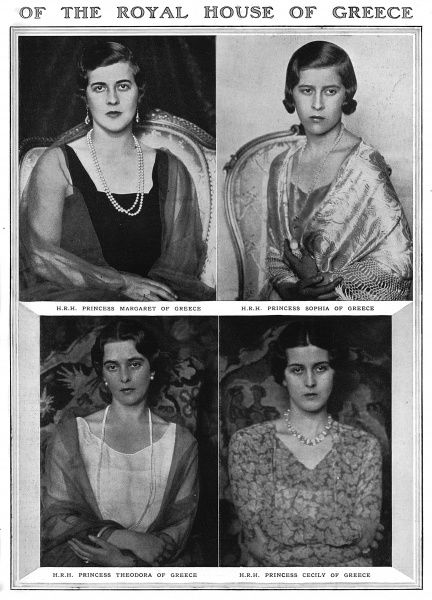 Portraits of the four sisters of Prince Philip, Duke of Edinburgh, pictured in 1930